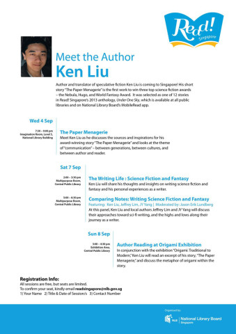 Ken Liu's coming to Singapore!