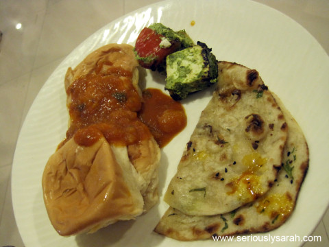 Pau bhaji, paneer and naan.
